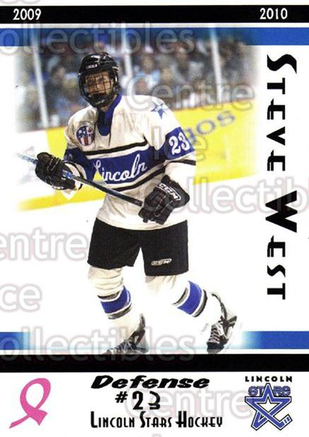 2009-10 Lincoln Stars #21 Steve West<br/>3 In Stock - $3.00 each - <a href=https://centericecollectibles.foxycart.com/cart?name=2009-10%20Lincoln%20Stars%20%2321%20Steve%20West...&quantity_max=3&price=$3.00&code=308931 class=foxycart> Buy it now! </a>