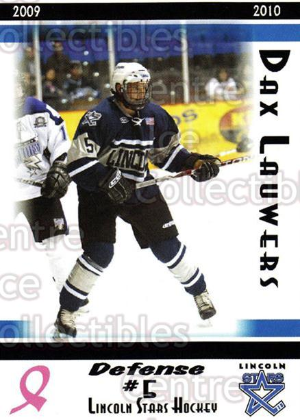 2009-10 Lincoln Stars High Gloss #5 Dax Lauwers<br/>1 In Stock - $3.00 each - <a href=https://centericecollectibles.foxycart.com/cart?name=2009-10%20Lincoln%20Stars%20High%20Gloss%20%235%20Dax%20Lauwers...&quantity_max=1&price=$3.00&code=308941 class=foxycart> Buy it now! </a>