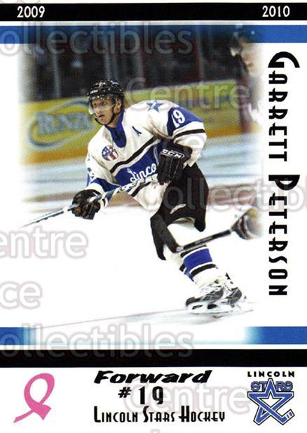 2009-10 Lincoln Stars High Gloss #17 Garrett Peterson<br/>3 In Stock - $3.00 each - <a href=https://centericecollectibles.foxycart.com/cart?name=2009-10%20Lincoln%20Stars%20High%20Gloss%20%2317%20Garrett%20Peterso...&quantity_max=3&price=$3.00&code=308953 class=foxycart> Buy it now! </a>