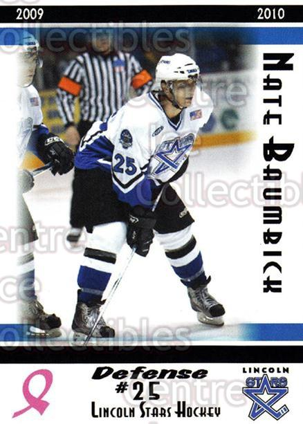 2009-10 Lincoln Stars High Gloss #23 Nate Baumbick<br/>3 In Stock - $3.00 each - <a href=https://centericecollectibles.foxycart.com/cart?name=2009-10%20Lincoln%20Stars%20High%20Gloss%20%2323%20Nate%20Baumbick...&quantity_max=3&price=$3.00&code=308959 class=foxycart> Buy it now! </a>