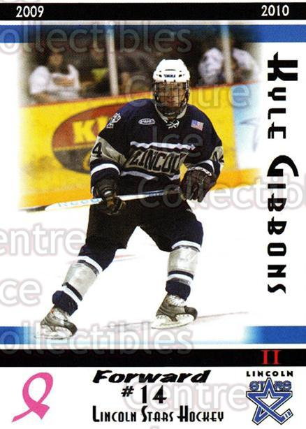 2009-10 Lincoln Stars High Gloss #37 Kyle Gibbons<br/>1 In Stock - $3.00 each - <a href=https://centericecollectibles.foxycart.com/cart?name=2009-10%20Lincoln%20Stars%20High%20Gloss%20%2337%20Kyle%20Gibbons...&quantity_max=1&price=$3.00&code=308973 class=foxycart> Buy it now! </a>
