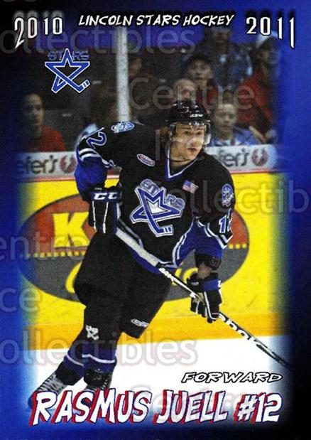 2010-11 Lincoln Stars Traded #2 Rasmus Juell<br/>1 In Stock - $3.00 each - <a href=https://centericecollectibles.foxycart.com/cart?name=2010-11%20Lincoln%20Stars%20Traded%20%232%20Rasmus%20Juell...&quantity_max=1&price=$3.00&code=309047 class=foxycart> Buy it now! </a>