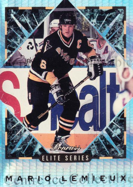 1993-94 Donruss Elite Inserts #1 Mario Lemieux<br/>1 In Stock - $20.00 each - <a href=https://centericecollectibles.foxycart.com/cart?name=1993-94%20Donruss%20Elite%20Inserts%20%231%20Mario%20Lemieux...&quantity_max=1&price=$20.00&code=309198 class=foxycart> Buy it now! </a>