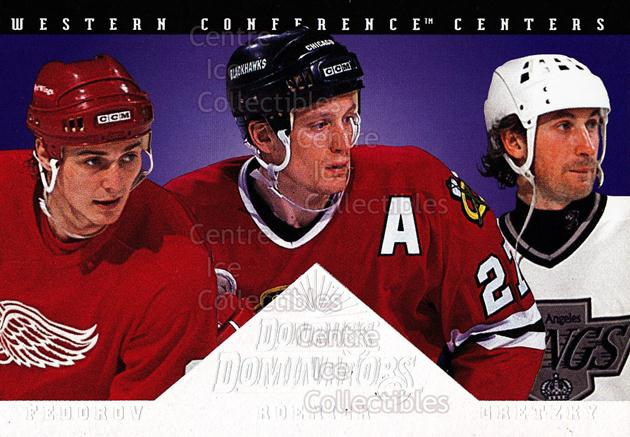 1994-95 Donruss Dominators #5 Wayne Gretzky, Jeremy Roenick, Sergei Fedorov<br/>1 In Stock - $10.00 each - <a href=https://centericecollectibles.foxycart.com/cart?name=1994-95%20Donruss%20Dominators%20%235%20Wayne%20Gretzky,%20...&quantity_max=1&price=$10.00&code=309221 class=foxycart> Buy it now! </a>