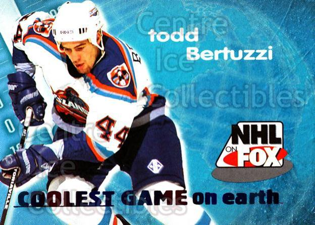 1996-97 SkyBox Impact NHL on Fox #2 Todd Bertuzzi<br/>1 In Stock - $2.00 each - <a href=https://centericecollectibles.foxycart.com/cart?name=1996-97%20SkyBox%20Impact%20NHL%20on%20Fox%20%232%20Todd%20Bertuzzi...&quantity_max=1&price=$2.00&code=309271 class=foxycart> Buy it now! </a>