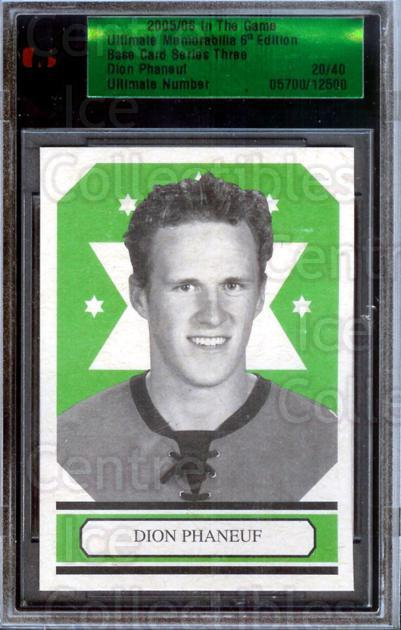 2005-06 ITG Ultimate Memorabilia Base Card Series 3 #25 Dion Phaneuf<br/>1 In Stock - $10.00 each - <a href=https://centericecollectibles.foxycart.com/cart?name=2005-06%20ITG%20Ultimate%20Memorabilia%20Base%20Card%20Series%203%20%2325%20Dion%20Phaneuf...&price=$10.00&code=310239 class=foxycart> Buy it now! </a>