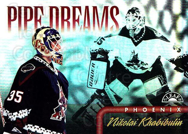 1997-98 Leaf Pipe Dreams #13 Nikolai Khabibulin<br/>1 In Stock - $5.00 each - <a href=https://centericecollectibles.foxycart.com/cart?name=1997-98%20Leaf%20Pipe%20Dreams%20%2313%20Nikolai%20Khabibu...&quantity_max=1&price=$5.00&code=311056 class=foxycart> Buy it now! </a>