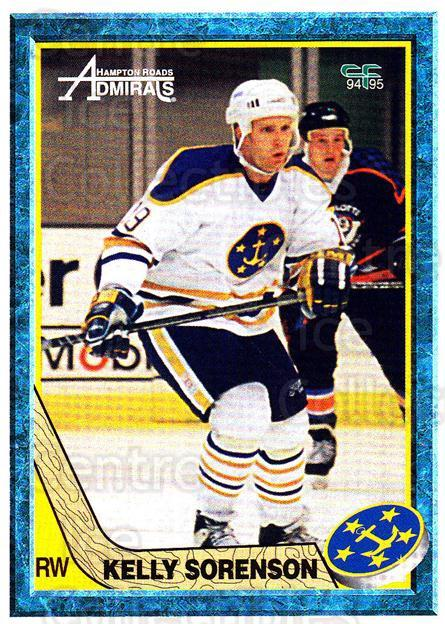 1994-95 Hampton Roads Admirals #15 Kelly Sorenson<br/>3 In Stock - $3.00 each - <a href=https://centericecollectibles.foxycart.com/cart?name=1994-95%20Hampton%20Roads%20Admirals%20%2315%20Kelly%20Sorenson...&quantity_max=3&price=$3.00&code=31120 class=foxycart> Buy it now! </a>