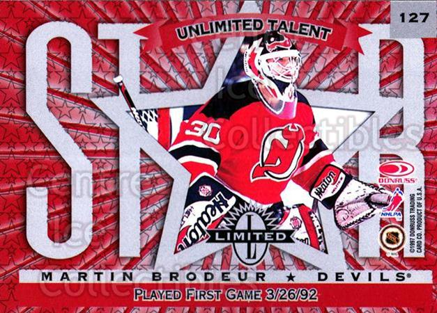1997-98 Donruss Limited #127 Martin Brodeur, Marc Denis<br/>1 In Stock - $15.00 each - <a href=https://centericecollectibles.foxycart.com/cart?name=1997-98%20Donruss%20Limited%20%23127%20Martin%20Brodeur,...&quantity_max=1&price=$15.00&code=311245 class=foxycart> Buy it now! </a>