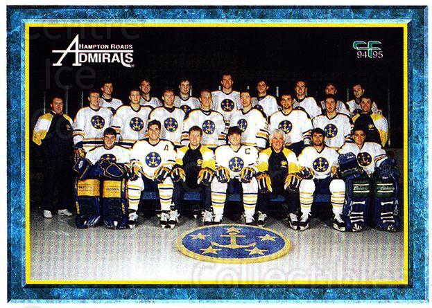 1994-95 Hampton Roads Admirals #23 Team Photo, Checklist<br/>4 In Stock - $2.00 each - <a href=https://centericecollectibles.foxycart.com/cart?name=1994-95%20Hampton%20Roads%20Admirals%20%2323%20Team%20Photo,%20Che...&price=$2.00&code=31129 class=foxycart> Buy it now! </a>