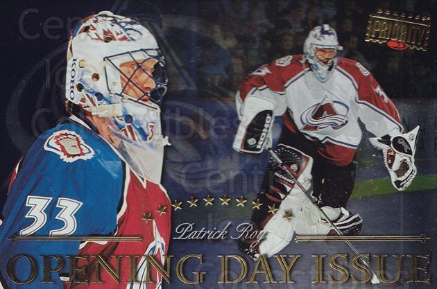1997-98 Donruss Priority Postcards Opening Day Issues #1 Patrick Roy<br/>1 In Stock - $15.00 each - <a href=https://centericecollectibles.foxycart.com/cart?name=1997-98%20Donruss%20Priority%20Postcards%20Opening%20Day%20Issues%20%231%20Patrick%20Roy...&quantity_max=1&price=$15.00&code=311766 class=foxycart> Buy it now! </a>