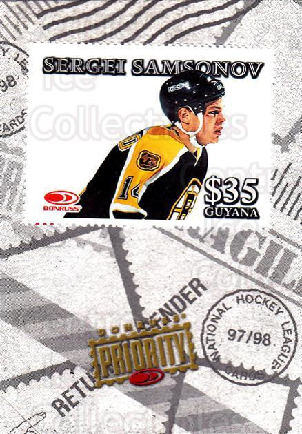 1997-98 Donruss Priority Stamps #17 Sergei Samsonov<br/>2 In Stock - $3.00 each - <a href=https://centericecollectibles.foxycart.com/cart?name=1997-98%20Donruss%20Priority%20Stamps%20%2317%20Sergei%20Samsonov...&quantity_max=2&price=$3.00&code=311840 class=foxycart> Buy it now! </a>