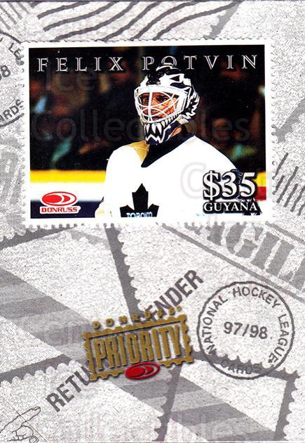 1997-98 Donruss Priority Stamps #29 Felix Potvin<br/>1 In Stock - $3.00 each - <a href=https://centericecollectibles.foxycart.com/cart?name=1997-98%20Donruss%20Priority%20Stamps%20%2329%20Felix%20Potvin...&quantity_max=1&price=$3.00&code=311843 class=foxycart> Buy it now! </a>