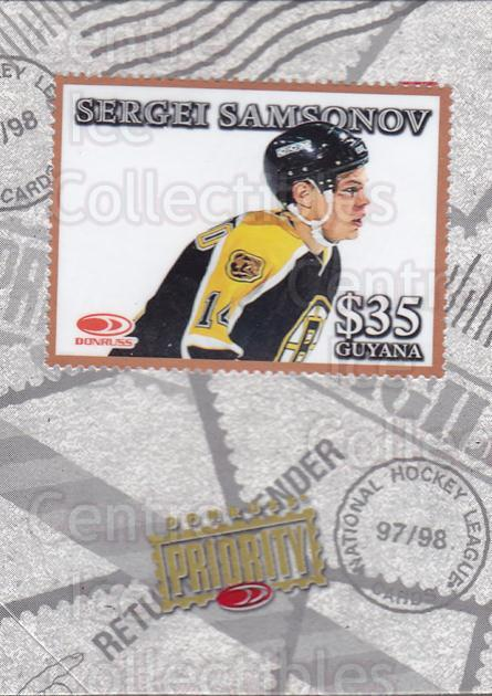 1997-98 Donruss Priority Stamps Bronze #17 Sergei Samsonov<br/>1 In Stock - $3.00 each - <a href=https://centericecollectibles.foxycart.com/cart?name=1997-98%20Donruss%20Priority%20Stamps%20Bronze%20%2317%20Sergei%20Samsonov...&quantity_max=1&price=$3.00&code=311860 class=foxycart> Buy it now! </a>