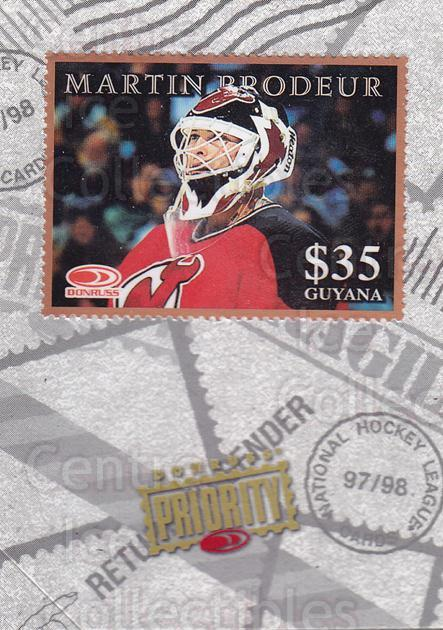 1997-98 Donruss Priority Stamps Bronze #24 Martin Brodeur<br/>1 In Stock - $10.00 each - <a href=https://centericecollectibles.foxycart.com/cart?name=1997-98%20Donruss%20Priority%20Stamps%20Bronze%20%2324%20Martin%20Brodeur...&quantity_max=1&price=$10.00&code=311866 class=foxycart> Buy it now! </a>