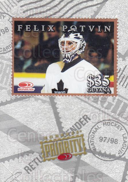 1997-98 Donruss Priority Stamps Bronze #29 Felix Potvin<br/>1 In Stock - $5.00 each - <a href=https://centericecollectibles.foxycart.com/cart?name=1997-98%20Donruss%20Priority%20Stamps%20Bronze%20%2329%20Felix%20Potvin...&quantity_max=1&price=$5.00&code=311870 class=foxycart> Buy it now! </a>