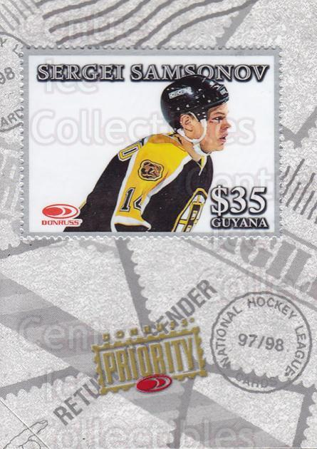1997-98 Donruss Priority Stamps Silver #17 Sergei Samsonov<br/>1 In Stock - $5.00 each - <a href=https://centericecollectibles.foxycart.com/cart?name=1997-98%20Donruss%20Priority%20Stamps%20Silver%20%2317%20Sergei%20Samsonov...&quantity_max=1&price=$5.00&code=311892 class=foxycart> Buy it now! </a>