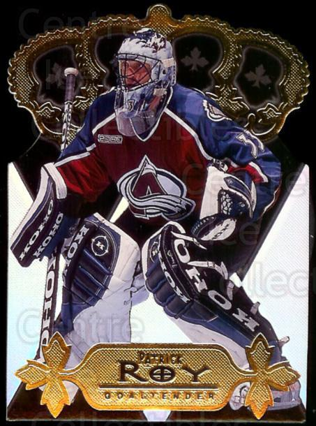 2000-01 Pacific Gold Crown Die-Cuts #10 Patrick Roy<br/>1 In Stock - $10.00 each - <a href=https://centericecollectibles.foxycart.com/cart?name=2000-01%20Pacific%20Gold%20Crown%20Die-Cuts%20%2310%20Patrick%20Roy...&price=$10.00&code=311985 class=foxycart> Buy it now! </a>
