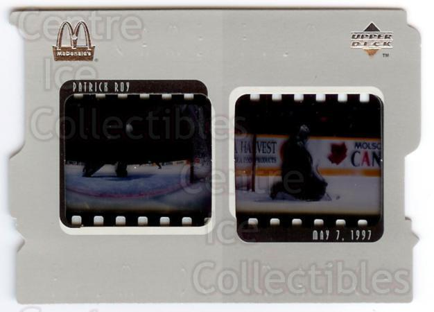 1997-98 McDonalds Upper Deck Game Film #5 Patrick Roy<br/>1 In Stock - $15.00 each - <a href=https://centericecollectibles.foxycart.com/cart?name=1997-98%20McDonalds%20Upper%20Deck%20Game%20Film%20%235%20Patrick%20Roy...&quantity_max=1&price=$15.00&code=312227 class=foxycart> Buy it now! </a>