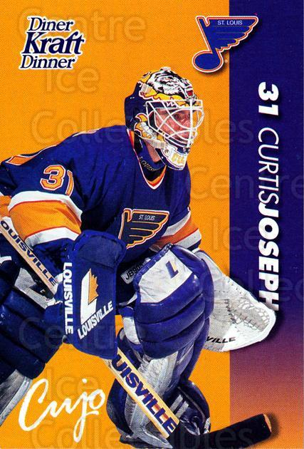 1994-95 Kraft Dinner Masked Defenders #14 Curtis Joseph<br/>6 In Stock - $3.00 each - <a href=https://centericecollectibles.foxycart.com/cart?name=1994-95%20Kraft%20Dinner%20Masked%20Defenders%20%2314%20Curtis%20Joseph...&quantity_max=6&price=$3.00&code=31247 class=foxycart> Buy it now! </a>