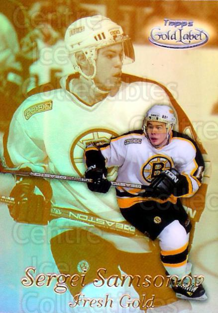 1999-00 Topps Gold Label Fresh Gold Black #1 Sergei Samsonov<br/>2 In Stock - $5.00 each - <a href=https://centericecollectibles.foxycart.com/cart?name=1999-00%20Topps%20Gold%20Label%20Fresh%20Gold%20Black%20%231%20Sergei%20Samsonov...&quantity_max=2&price=$5.00&code=313063 class=foxycart> Buy it now! </a>