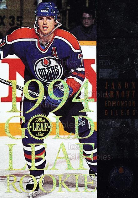 1994-95 Leaf Gold Leaf Rookies #2 Jason Arnott<br/>3 In Stock - $3.00 each - <a href=https://centericecollectibles.foxycart.com/cart?name=1994-95%20Leaf%20Gold%20Leaf%20Rookies%20%232%20Jason%20Arnott...&quantity_max=3&price=$3.00&code=31313 class=foxycart> Buy it now! </a>