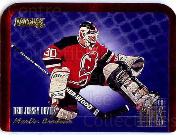 1995-96 Donruss Between The Pipes #5 Martin Brodeur<br/>2 In Stock - $5.00 each - <a href=https://centericecollectibles.foxycart.com/cart?name=1995-96%20Donruss%20Between%20The%20Pipes%20%235%20Martin%20Brodeur...&price=$5.00&code=313154 class=foxycart> Buy it now! </a>