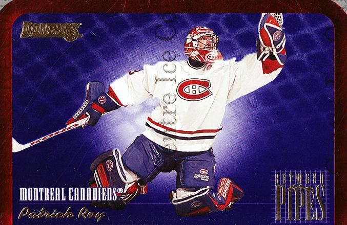 1995-96 Donruss Between The Pipes #7 Patrick Roy<br/>6 In Stock - $5.00 each - <a href=https://centericecollectibles.foxycart.com/cart?name=1995-96%20Donruss%20Between%20The%20Pipes%20%237%20Patrick%20Roy...&price=$5.00&code=313156 class=foxycart> Buy it now! </a>