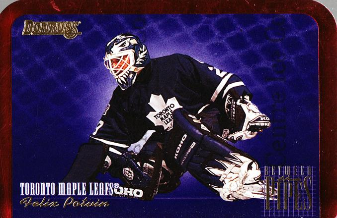 1995-96 Donruss Between The Pipes #9 Felix Potvin<br/>2 In Stock - $3.00 each - <a href=https://centericecollectibles.foxycart.com/cart?name=1995-96%20Donruss%20Between%20The%20Pipes%20%239%20Felix%20Potvin...&quantity_max=2&price=$3.00&code=313158 class=foxycart> Buy it now! </a>