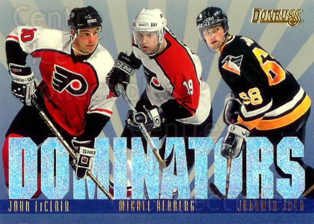 1995-96 Donruss Dominators #2 John LeClair, Mikael Renberg, Jaromir Jagr<br/>2 In Stock - $10.00 each - <a href=https://centericecollectibles.foxycart.com/cart?name=1995-96%20Donruss%20Dominators%20%232%20John%20LeClair,%20M...&price=$10.00&code=313178 class=foxycart> Buy it now! </a>