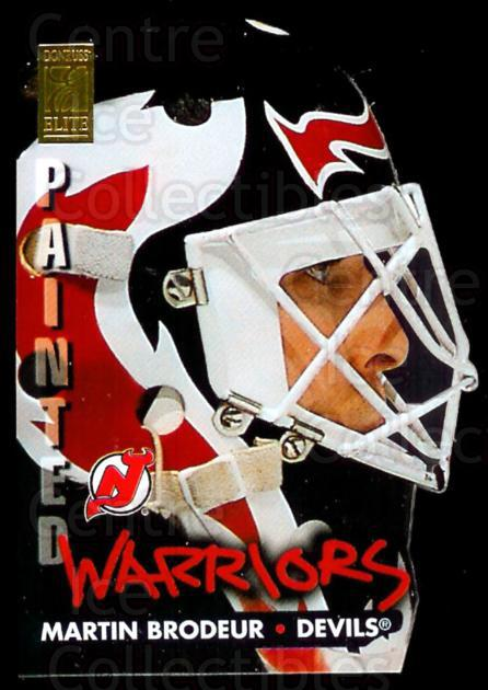1995-96 Donruss Elite Painted Warriors #3 Martin Brodeur<br/>1 In Stock - $10.00 each - <a href=https://centericecollectibles.foxycart.com/cart?name=1995-96%20Donruss%20Elite%20Painted%20Warriors%20%233%20Martin%20Brodeur...&price=$10.00&code=313212 class=foxycart> Buy it now! </a>
