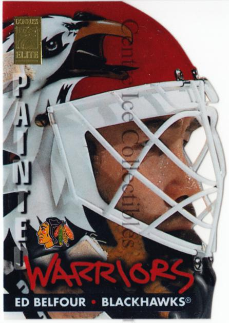 1995-96 Donruss Elite Painted Warriors #4 Ed Belfour<br/>1 In Stock - $10.00 each - <a href=https://centericecollectibles.foxycart.com/cart?name=1995-96%20Donruss%20Elite%20Painted%20Warriors%20%234%20Ed%20Belfour...&price=$10.00&code=313213 class=foxycart> Buy it now! </a>
