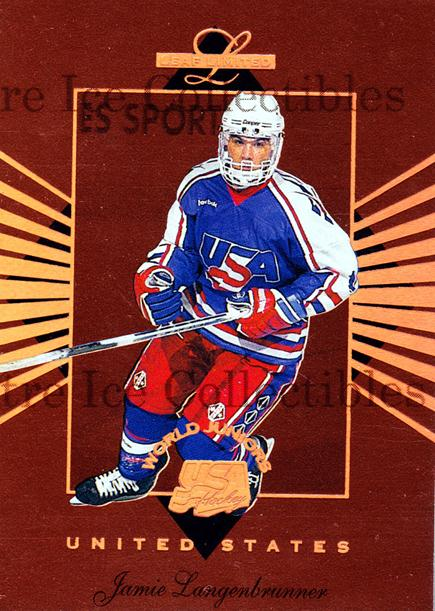 1994-95 Leaf Limited World Juniors USA #7 Jamie Langenbrunner<br/>5 In Stock - $5.00 each - <a href=https://centericecollectibles.foxycart.com/cart?name=1994-95%20Leaf%20Limited%20World%20Juniors%20USA%20%237%20Jamie%20Langenbru...&quantity_max=5&price=$5.00&code=31344 class=foxycart> Buy it now! </a>