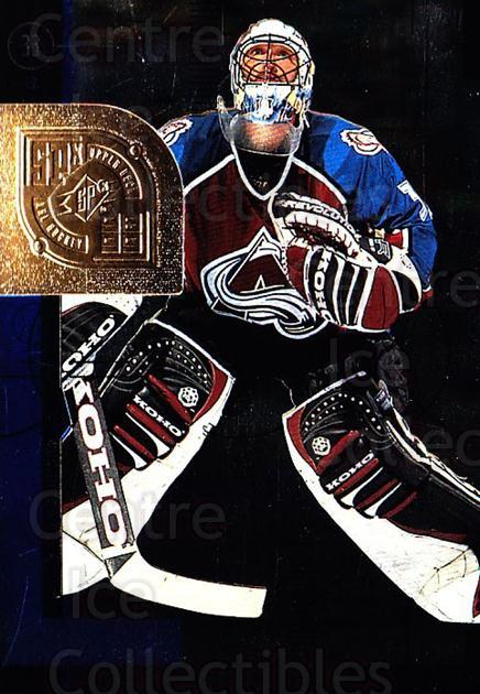 1998-99 SPx Top Prospects #14 Patrick Roy<br/>2 In Stock - $5.00 each - <a href=https://centericecollectibles.foxycart.com/cart?name=1998-99%20SPx%20Top%20Prospects%20%2314%20Patrick%20Roy...&quantity_max=2&price=$5.00&code=314973 class=foxycart> Buy it now! </a>