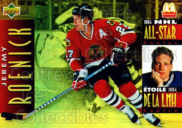 1994-95 McDonalds Upper Deck #20 Jeremy Roenick<br/>9 In Stock - $1.00 each - <a href=https://centericecollectibles.foxycart.com/cart?name=1994-95%20McDonalds%20Upper%20Deck%20%2320%20Jeremy%20Roenick...&quantity_max=9&price=$1.00&code=31501 class=foxycart> Buy it now! </a>