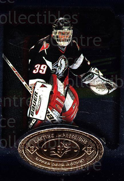 1998-99 SPx Top Prospects Lasting Impressions #6 Dominik Hasek<br/>4 In Stock - $3.00 each - <a href=https://centericecollectibles.foxycart.com/cart?name=1998-99%20SPx%20Top%20Prospects%20Lasting%20Impressions%20%236%20Dominik%20Hasek...&price=$3.00&code=315072 class=foxycart> Buy it now! </a>