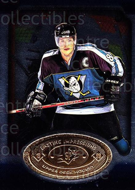 1998-99 SPx Top Prospects Lasting Impressions #7 Teemu Selanne<br/>7 In Stock - $3.00 each - <a href=https://centericecollectibles.foxycart.com/cart?name=1998-99%20SPx%20Top%20Prospects%20Lasting%20Impressions%20%237%20Teemu%20Selanne...&price=$3.00&code=315073 class=foxycart> Buy it now! </a>