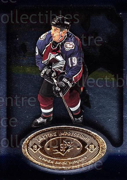 1998-99 SPx Top Prospects Lasting Impressions #13 Joe Sakic<br/>2 In Stock - $3.00 each - <a href=https://centericecollectibles.foxycart.com/cart?name=1998-99%20SPx%20Top%20Prospects%20Lasting%20Impressions%20%2313%20Joe%20Sakic...&price=$3.00&code=315076 class=foxycart> Buy it now! </a>