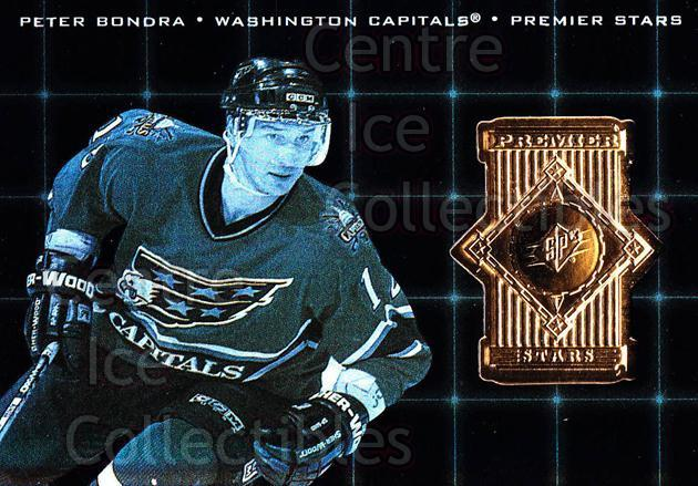 1998-99 SPx Top Prospects Premier Stars #15 Peter Bondra<br/>1 In Stock - $3.00 each - <a href=https://centericecollectibles.foxycart.com/cart?name=1998-99%20SPx%20Top%20Prospects%20Premier%20Stars%20%2315%20Peter%20Bondra...&quantity_max=1&price=$3.00&code=315091 class=foxycart> Buy it now! </a>