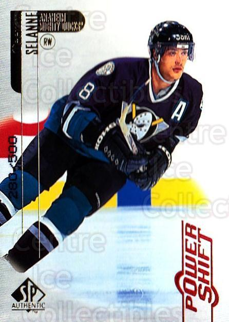 1998-99 SP Authentic Power Shift #2 Teemu Selanne<br/>1 In Stock - $10.00 each - <a href=https://centericecollectibles.foxycart.com/cart?name=1998-99%20SP%20Authentic%20Power%20Shift%20%232%20Teemu%20Selanne...&quantity_max=1&price=$10.00&code=315220 class=foxycart> Buy it now! </a>