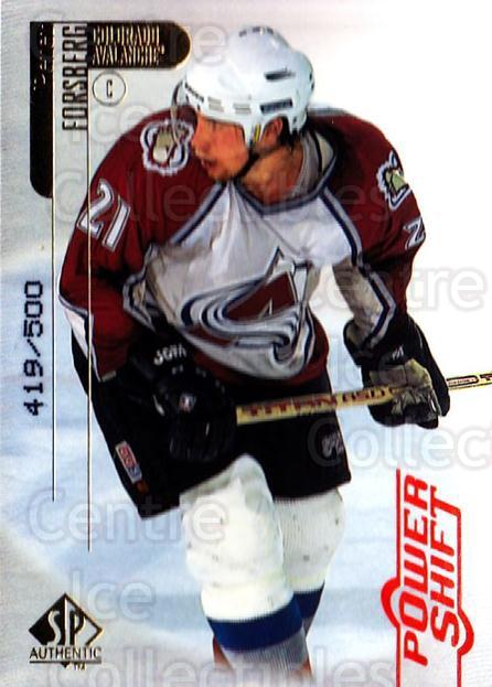 1998-99 SP Authentic Power Shift #20 Peter Forsberg<br/>1 In Stock - $10.00 each - <a href=https://centericecollectibles.foxycart.com/cart?name=1998-99%20SP%20Authentic%20Power%20Shift%20%2320%20Peter%20Forsberg...&quantity_max=1&price=$10.00&code=315221 class=foxycart> Buy it now! </a>