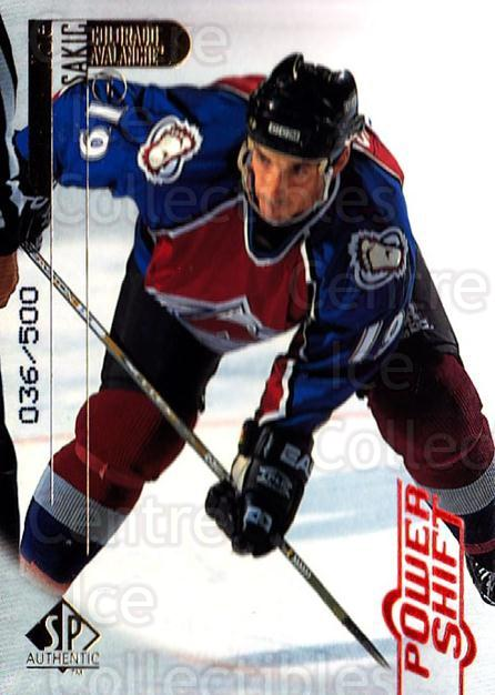 1998-99 SP Authentic Power Shift #22 Joe Sakic<br/>1 In Stock - $10.00 each - <a href=https://centericecollectibles.foxycart.com/cart?name=1998-99%20SP%20Authentic%20Power%20Shift%20%2322%20Joe%20Sakic...&quantity_max=1&price=$10.00&code=315223 class=foxycart> Buy it now! </a>