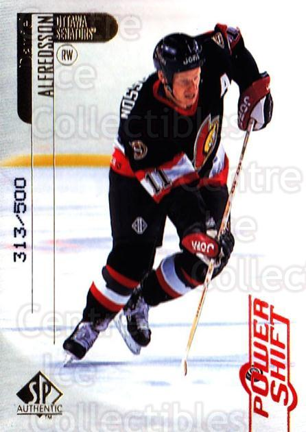 1998-99 SP Authentic Power Shift #60 Daniel Alfredsson<br/>1 In Stock - $3.00 each - <a href=https://centericecollectibles.foxycart.com/cart?name=1998-99%20SP%20Authentic%20Power%20Shift%20%2360%20Daniel%20Alfredss...&quantity_max=1&price=$3.00&code=315264 class=foxycart> Buy it now! </a>