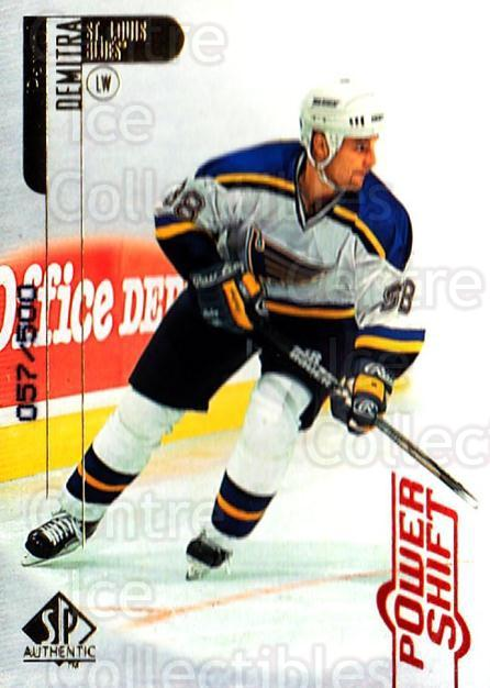 1998-99 SP Authentic Power Shift #74 Pavol Demitra<br/>1 In Stock - $3.00 each - <a href=https://centericecollectibles.foxycart.com/cart?name=1998-99%20SP%20Authentic%20Power%20Shift%20%2374%20Pavol%20Demitra...&quantity_max=1&price=$3.00&code=315279 class=foxycart> Buy it now! </a>