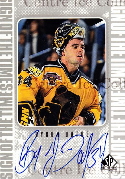 1998-99 Sp Authentic Sign of the Times #BD Byron Dafoe<br/>2 In Stock - $10.00 each - <a href=https://centericecollectibles.foxycart.com/cart?name=1998-99%20Sp%20Authentic%20Sign%20of%20the%20Times%20%23BD%20Byron%20Dafoe...&price=$10.00&code=315314 class=foxycart> Buy it now! </a>