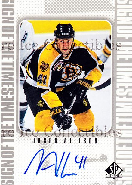 1998-99 Sp Authentic Sign of the Times #JA Jason Allison<br/>1 In Stock - $10.00 each - <a href=https://centericecollectibles.foxycart.com/cart?name=1998-99%20Sp%20Authentic%20Sign%20of%20the%20Times%20%23JA%20Jason%20Allison...&price=$10.00&code=315325 class=foxycart> Buy it now! </a>