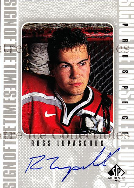 1998-99 Sp Authentic Sign of the Times #RL Ross Lupaschuk<br/>3 In Stock - $10.00 each - <a href=https://centericecollectibles.foxycart.com/cart?name=1998-99%20Sp%20Authentic%20Sign%20of%20the%20Times%20%23RL%20Ross%20Lupaschuk...&price=$10.00&code=315353 class=foxycart> Buy it now! </a>