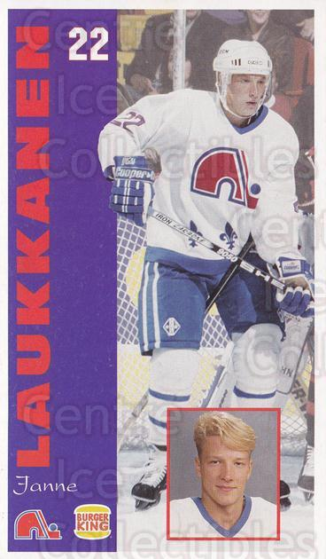 1994-95 Quebec Nordiques Burger King #15 Janne Laukkanen<br/>1 In Stock - $3.00 each - <a href=https://centericecollectibles.foxycart.com/cart?name=1994-95%20Quebec%20Nordiques%20Burger%20King%20%2315%20Janne%20Laukkanen...&quantity_max=1&price=$3.00&code=31576 class=foxycart> Buy it now! </a>