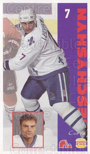 1994-95 Quebec Nordiques Burger King #16 Curtis Leschyshyn<br/>5 In Stock - $3.00 each - <a href=https://centericecollectibles.foxycart.com/cart?name=1994-95%20Quebec%20Nordiques%20Burger%20King%20%2316%20Curtis%20Leschysh...&quantity_max=5&price=$3.00&code=31578 class=foxycart> Buy it now! </a>