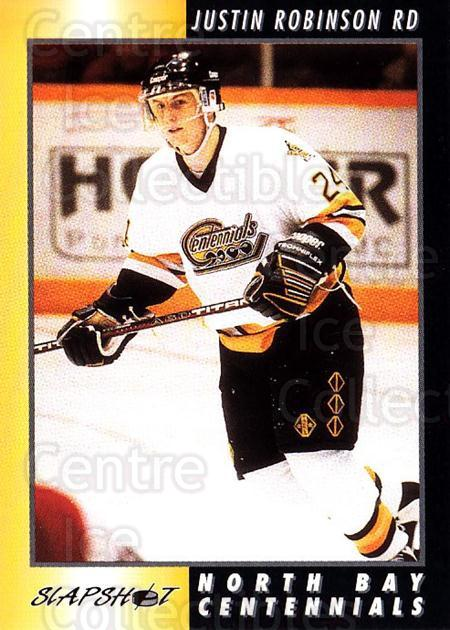 1994-95 North Bay Centennials #20 Justin Robinson<br/>6 In Stock - $3.00 each - <a href=https://centericecollectibles.foxycart.com/cart?name=1994-95%20North%20Bay%20Centennials%20%2320%20Justin%20Robinson...&price=$3.00&code=31604 class=foxycart> Buy it now! </a>